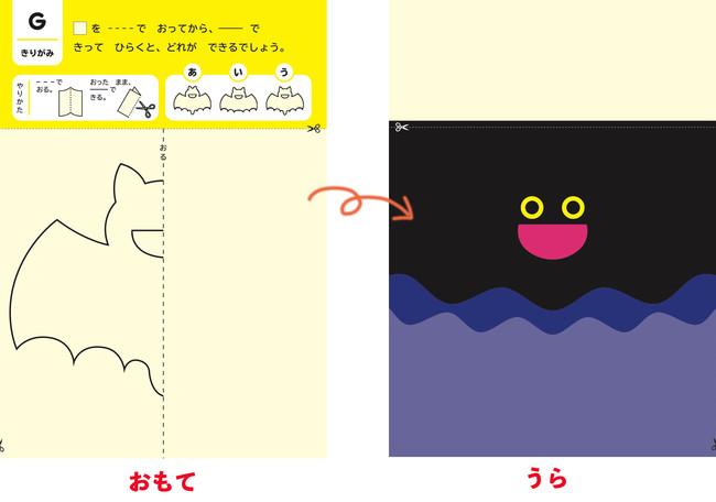 ▲表は折り線と切り線の指示、裏はナゾのイラスト。表の線で切ると作品に仕上がる/「4~6歳むずかしい」より