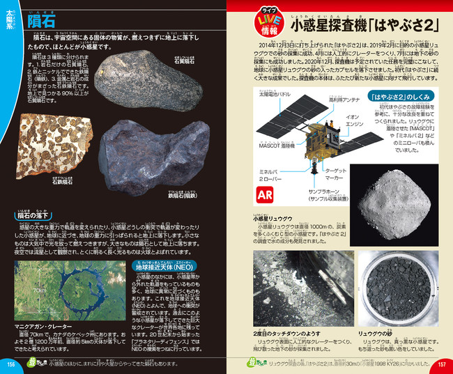 「はやぶさ2」と小惑星リュウグウ、持ち帰った砂の写真などを掲載。タッチダウンの様子はスマホで見られます!