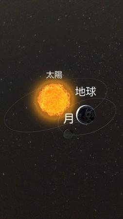 太陽を中心に地球が公転し、地球のまわりを月が公転します(3DCG)。