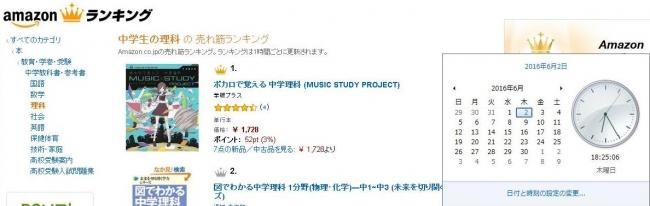 Amazon.co.jp(R)書籍総合ランキング「中学生の理科」※ Amazon およびAmazon.co.jp は、Amazon.com.Inc.またはその関連会社の商標です