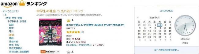 Amazon.co.jp(R)書籍総合ランキング「中学生の社会」※ Amazon およびAmazon.co.jp は、Amazon.com.Inc.またはその関連会社の商標です