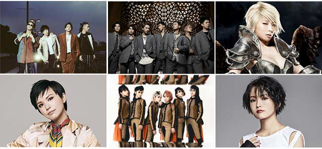 THE ORAL CIGARETTES、三代目 J SOUL BROTHERS from EXILE TRIBE、椎名林檎、Superfly、BiSH、山本彩 (五十音順)