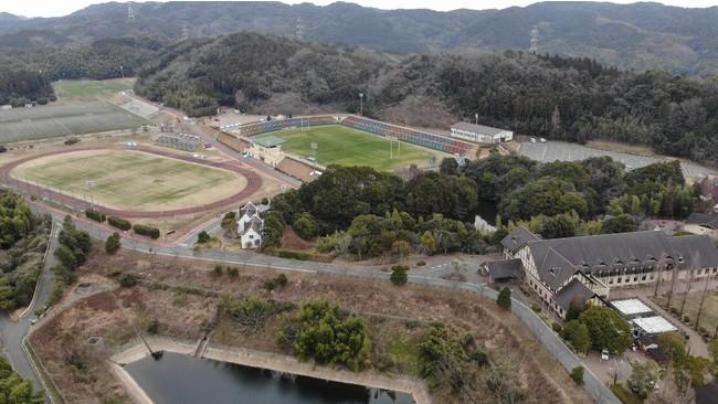 ジャパンラグビートップリーグ2021第2節は写真右上のサニックスグローバルアリーナスタジアムにて開催予定です。