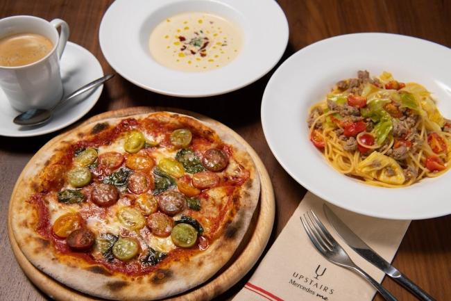 提供されるスペシャルメニューは3品。パスタとピザには白菜ミニスープとコーヒーが付く