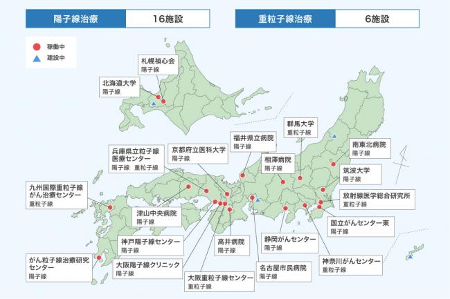 図3.「陽子線治療」と「重粒子線治療」を受けられる施設(2020年2月時点)