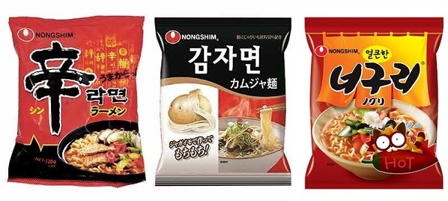 画像左から「辛ラーメン」「カムジャ麺」「ノグリラーメン」
