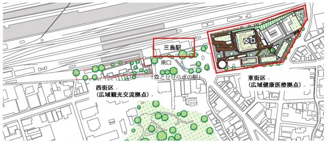三島駅前の位置関係 ※ 三島市観光協会発表内容