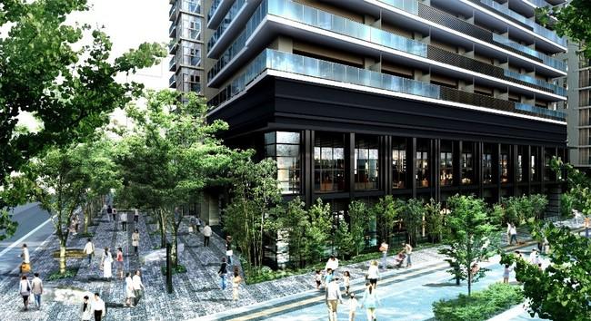 セントラルタワー基壇部+広場状空地「ケヤキガーデン」完成予想図