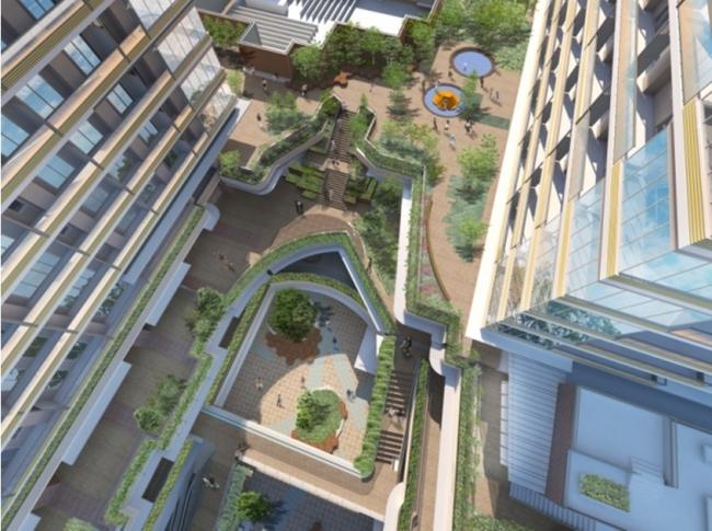 建物イメージパース(2棟中間部を真上から望む)