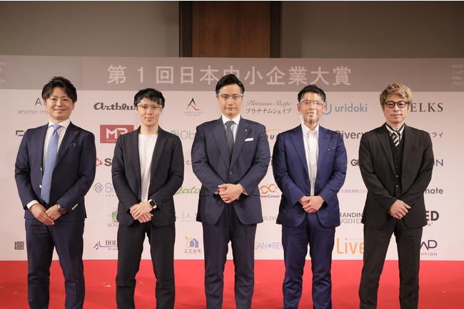 左から、株式会社リアステージ様、株式会社ノークリー様、株式会社シャリオン、株式会社武蔵野様、田村淳様