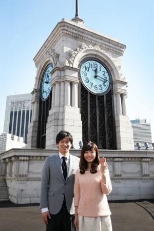 時計塔前での記念撮影