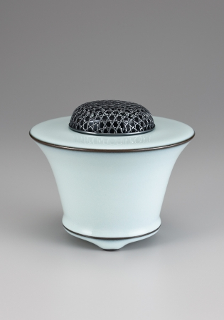 福島善三 中野月白瓷香炉 径14.3×12.2cm