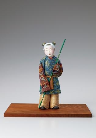 林 駒夫 木芯桐塑布木目込「蘭亭流觴」 高さ22cm
