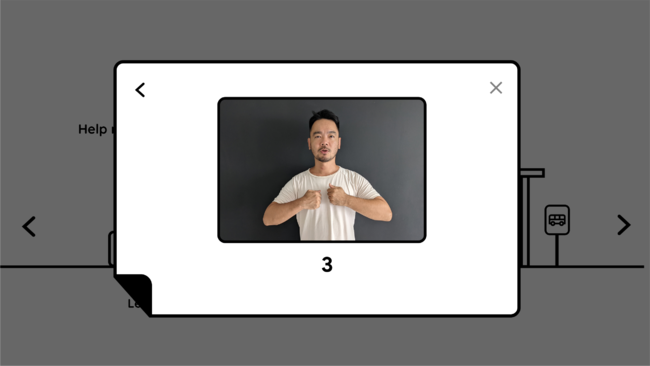 手話をパソコンカメラで認識する様子