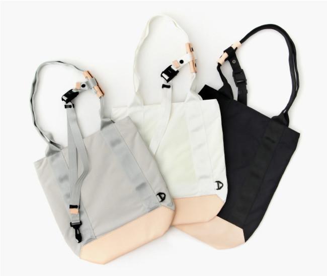 バッグ底部、ハンドル部分には経年変化を楽しめる本革を使用