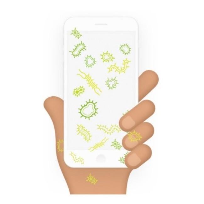 携帯電話には公衆トイレの18倍のバクテリアが含まれているとのこと