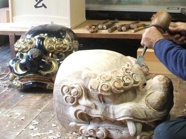 【トヤマテーブル】井波彫刻獅子頭