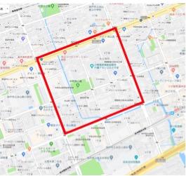 本山地区モデルケース構築エリア(本山南地域福祉センターを中心に400m四方)