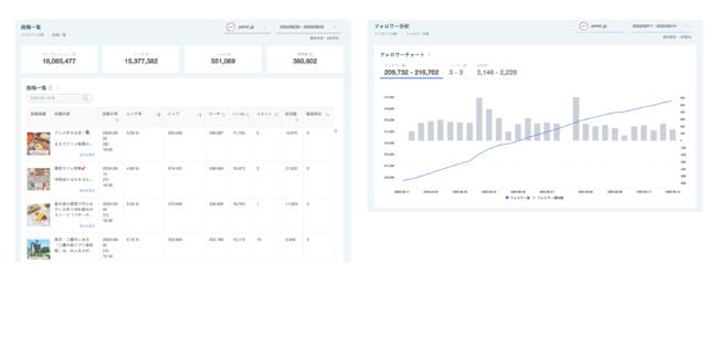 インサイト分析 フォロワー分析(画像左)・投稿一覧(画像右)