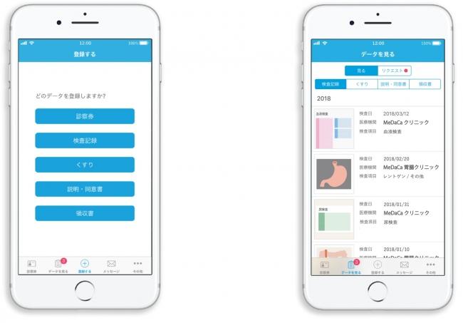 図1MeDaCa(R)アプリ トップ画面              図2MeDaCa(R)アプリ 検査記録一覧画面