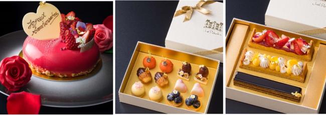 画像:左アニバーサリーガトー「苺のムース ライムの香るチーズケーキを併せて」、中央「小菓子 6種セット 2名様用 」、右「ガトー 3種セット」