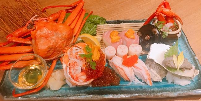 """""""かに港""""プレート~紅ずわい蟹姿盛り付き~(税抜¥1,500)"""