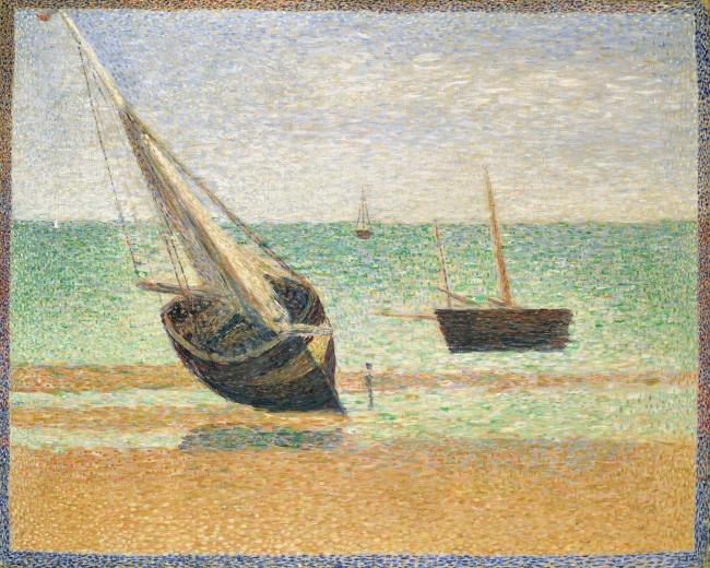 ジョルジュ・スーラ 《グランカンの干潮》1885年 ポーラ美術館蔵