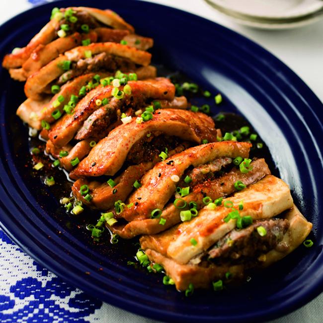 豆腐の肉はさみ照り焼き