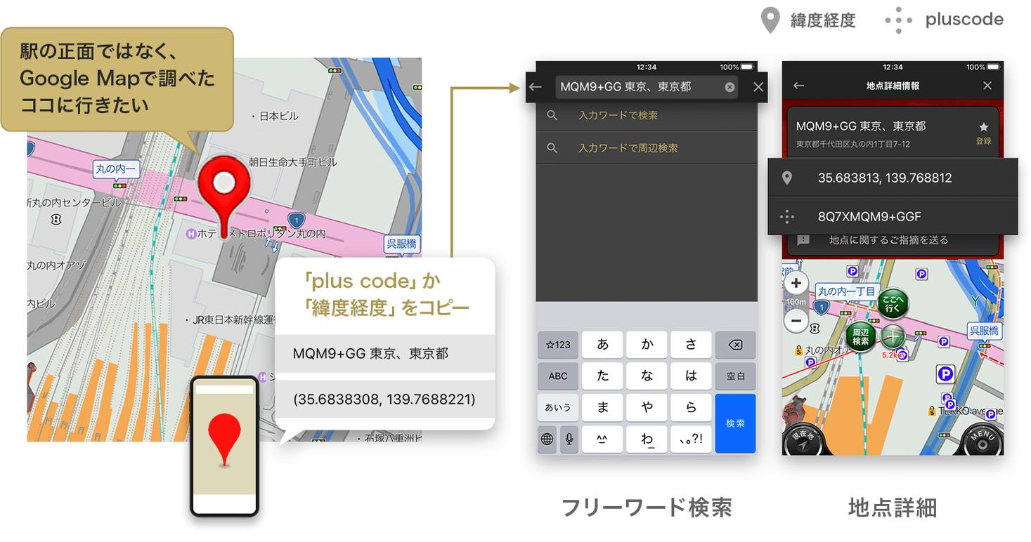 カーナビタイム』plus codeと緯度経度による地点検索に対応|株式会社 ...