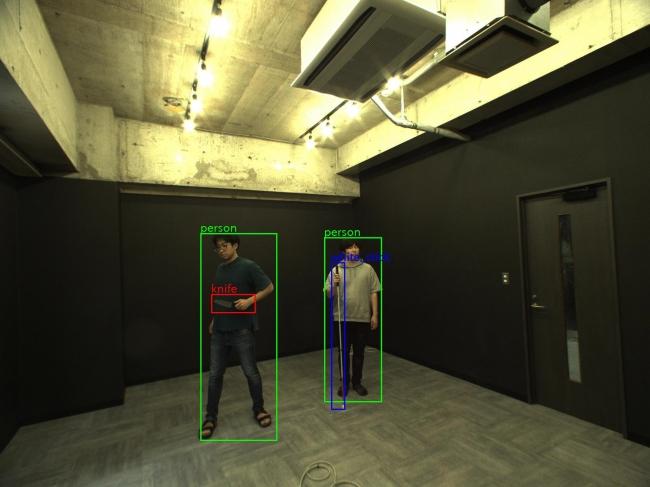 本警備ロボットに搭載した物体認識システムの認識例