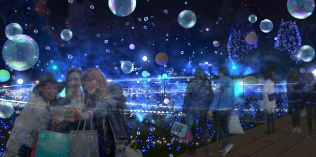 空間全体に広がるしゃぼん玉と光るバルーンの期間限定特別演出  「しゃぼん玉イルミネーション」 (イメージ)