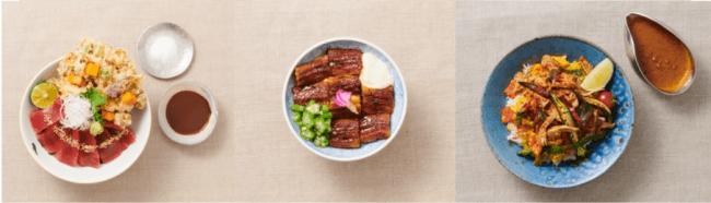 左から「マグロと小かき揚げの丼」「さっぱり うなとろ丼」「PULLED PORK VINDALOO BOWL」