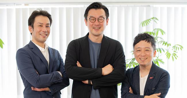株式会社Rehab for JAPAN 代表取締役社長CEO大久保亮(写真左)、執行役員CPO若林一寿(写真中央)取締役副社長COO池上晋介(写真右)