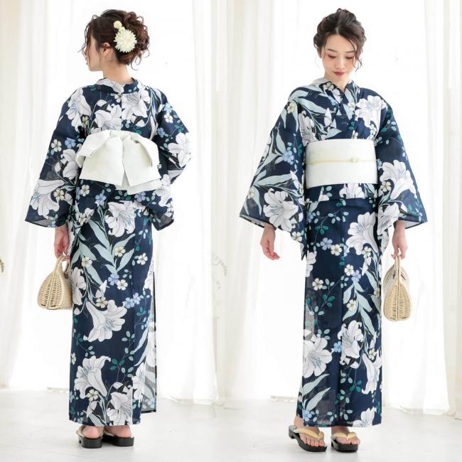 新作オリジナルレディース浴衣例 白百合 紺色