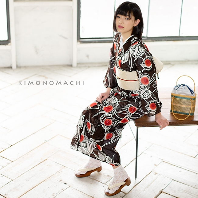 「ほおずき 黒茶」 綿絽浴衣