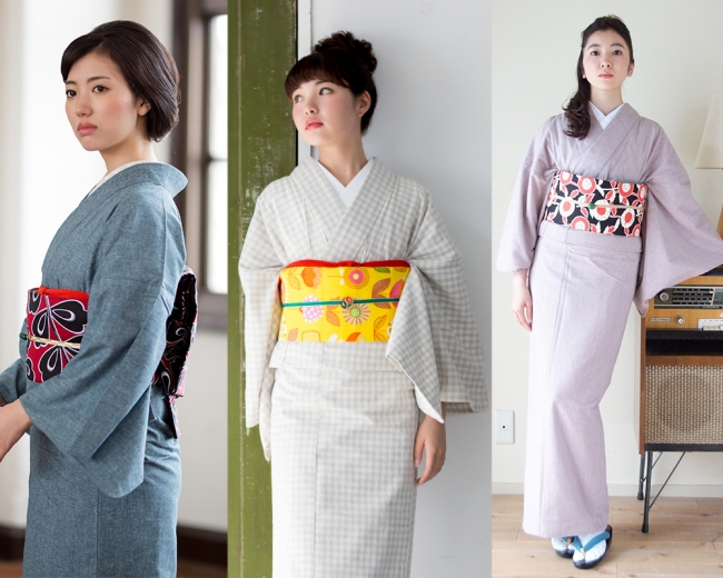 左右:「KIMONOMACHIオリジナル 杢の木綿着物」、真ん中:「KIMONOMACHIオリジナル 木綿着物」