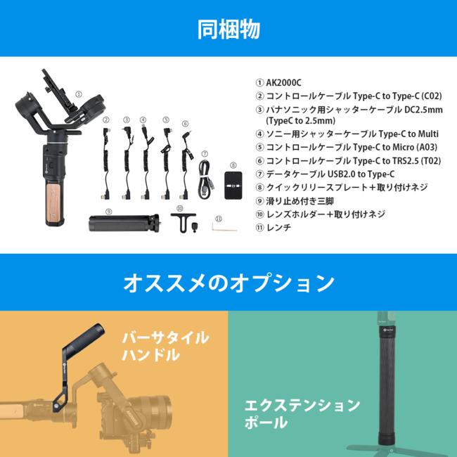 「AK2000C」同梱物とオプション