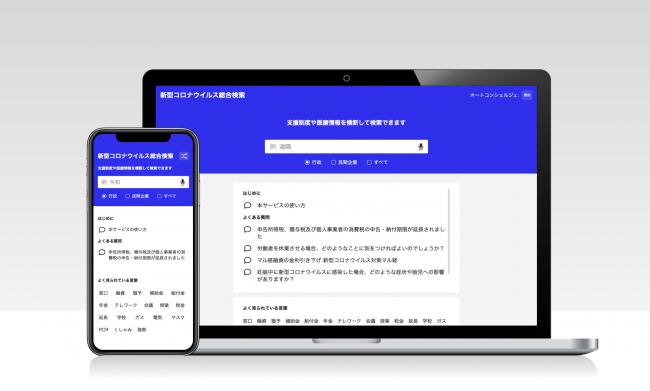 新型コロナウイルスに関する総合検索サイトを立ち上げ、官公庁や民間企業の支援策を高速で検索