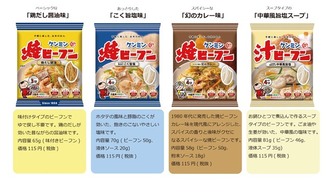 ケンミン焼ビーフンシリーズラインナップ