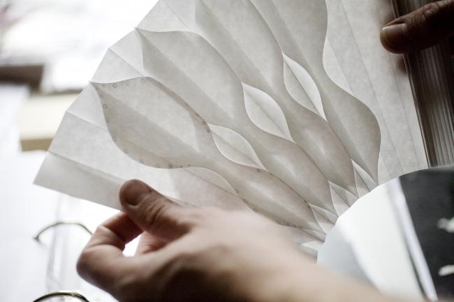 扇作家(メートル・ダール)シルヴァン・ル・グエン氏の作品 PETALES DE GIVRE by Sylvain Le Guen (C)NATHALIE BAETEN