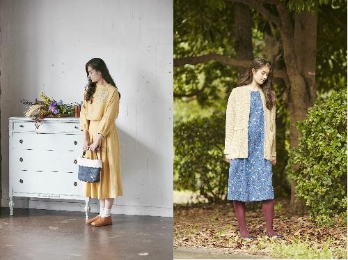 左)刺繍ブラウス/タックスカート/ボアバッグ 右)ニットカーディガン/七草プリントワンピース