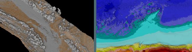 グリーンレーザースキャナでの計測例 (左)河川3次元鳥瞰図、(右)海岸線標高断彩図