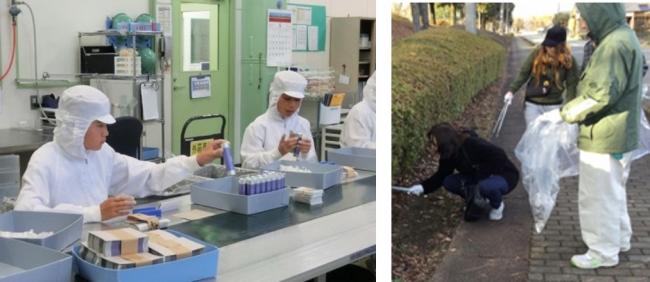 (左)小中学生の職場体験学習(右)環境美化活動「愛パーク とちぎ」への参加