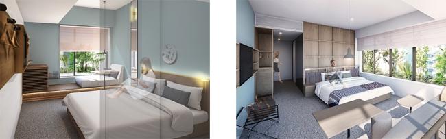 左:DOUBLE ROOMイメージ、右:CORNER DOUBLE ROOMイメージ