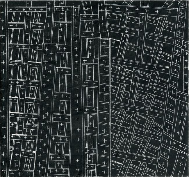 力  2005年 インク、クレヨン、スクラッチ/厚紙 250×265 mm