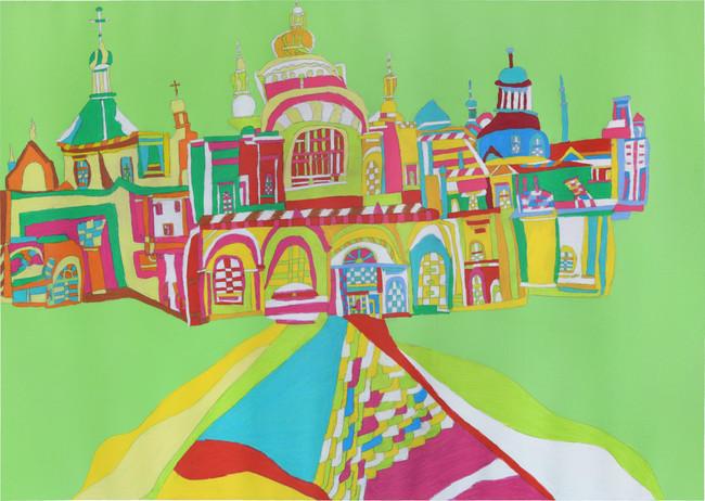 聖ソフィア大聖堂 2021年 鉛筆、色鉛筆/紙 728×1031 mm