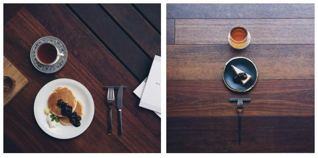 (左)厳選素材のオーガニックパンケーキ  (右)グルテンフリーの濃厚チーズケーキ