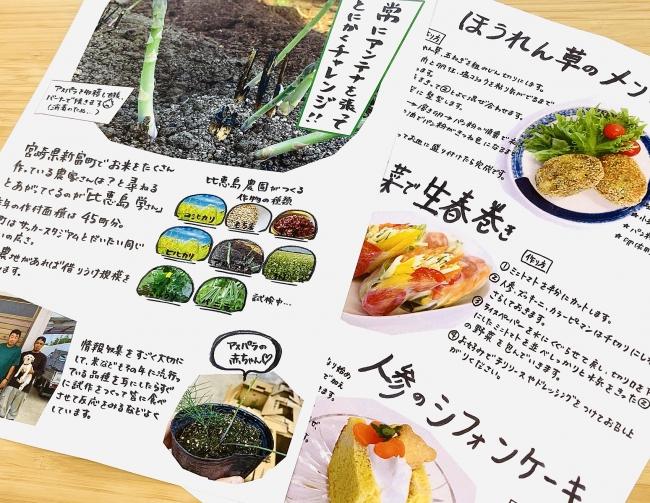 生産者の想いを伝えるフライヤー、届いた野菜でつくるオリジナルレシピ。手作りの温かみにあふれている。