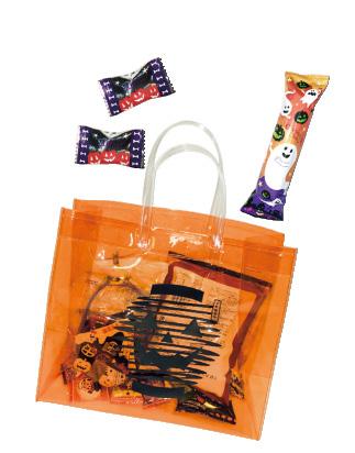※受付で参加者に配られるビニールバッグとお菓子(一例)