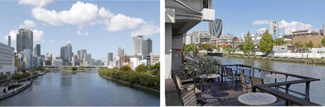 ▲(左)タワーマンションやオフィスが立ち並ぶ中之島(右)川辺のカフェから見える中之島の街並み